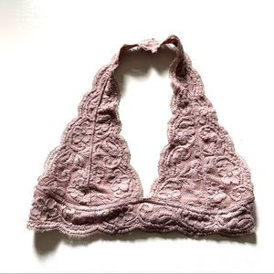 French affair blush pink lace halter bandeau small